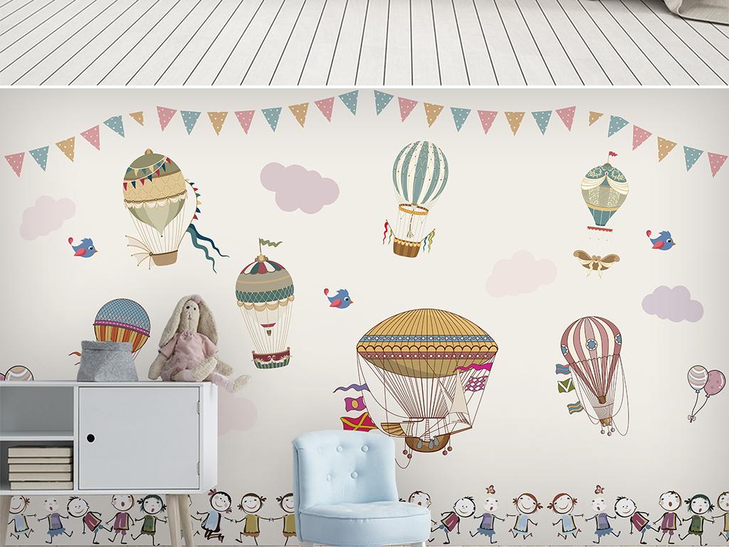 儿童房手绘热气球花卉卡通田园背景墙