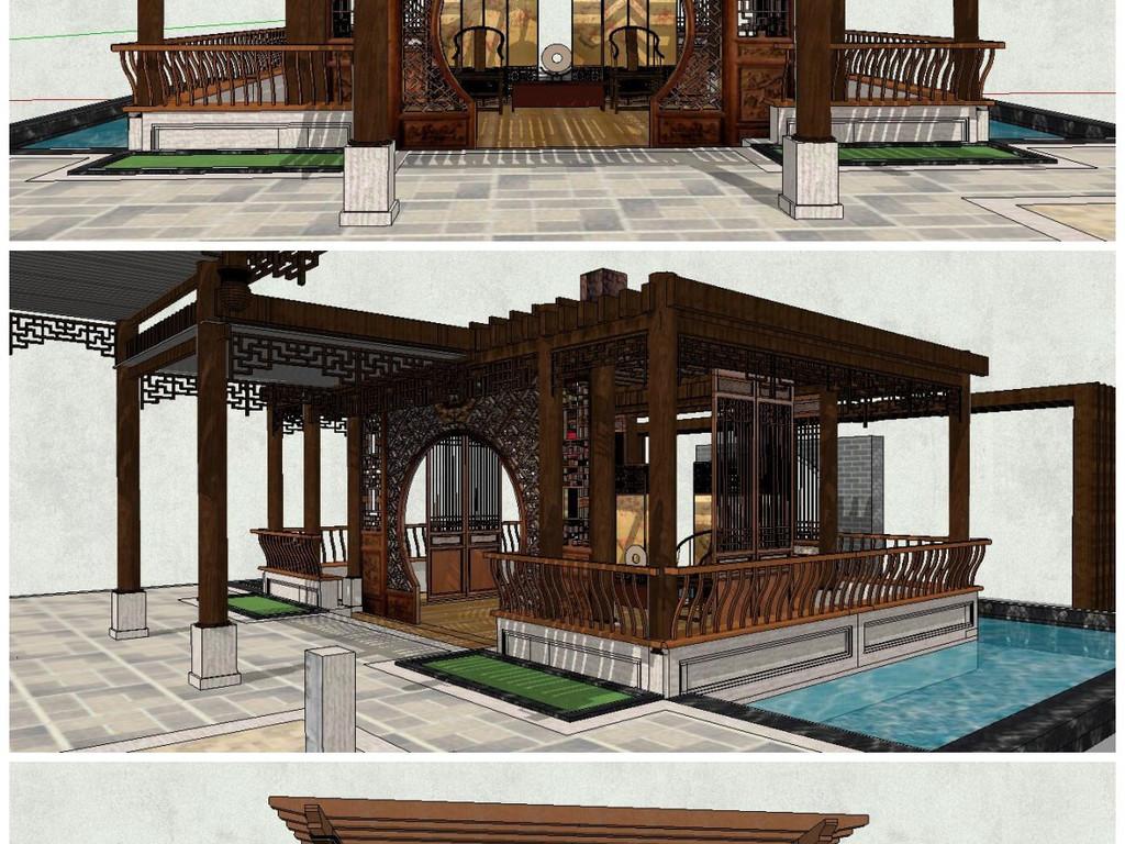 建筑设计庭院广场城市规划小品中式景墙新中式风格亭廊中式景观中式