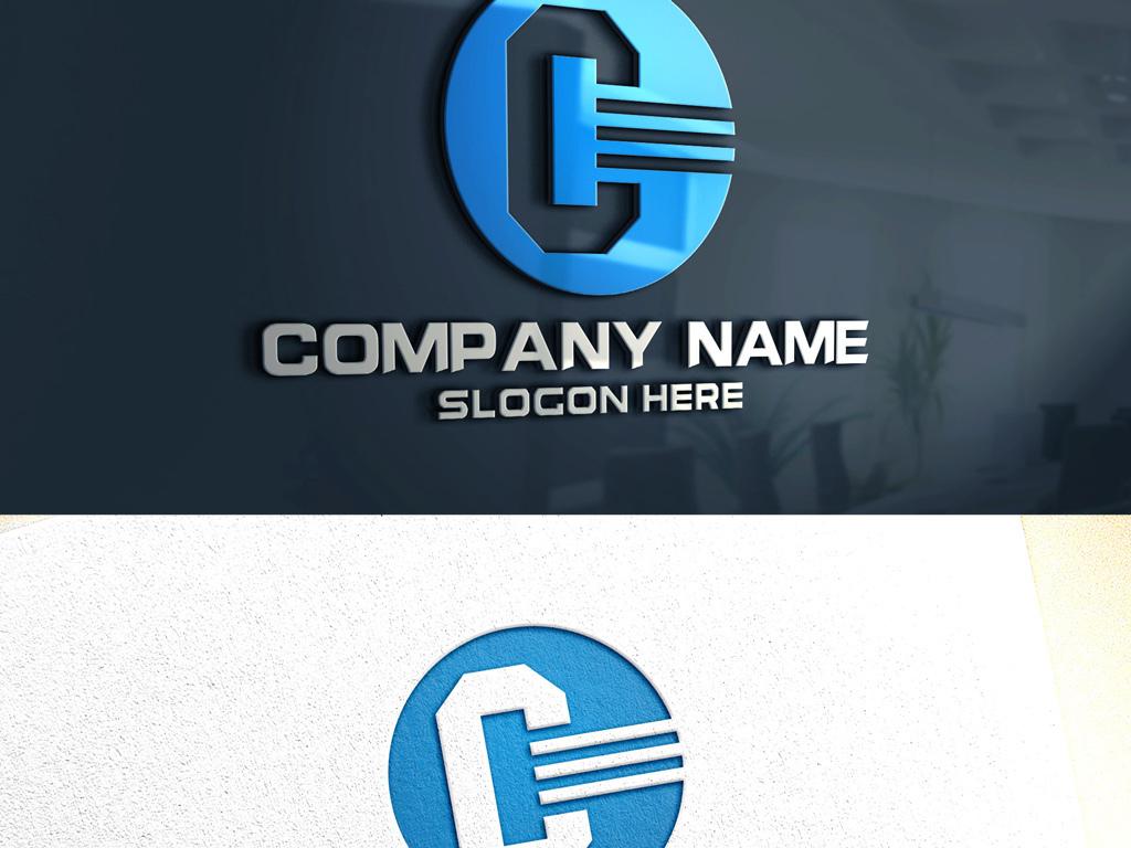 c字母建筑工程机械电子科技logo设计图片