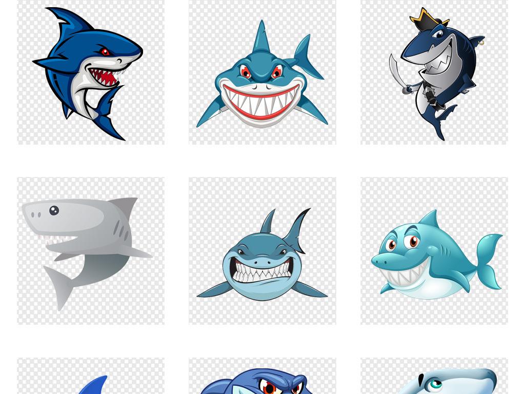 卡通手绘深海鲨鱼png素材