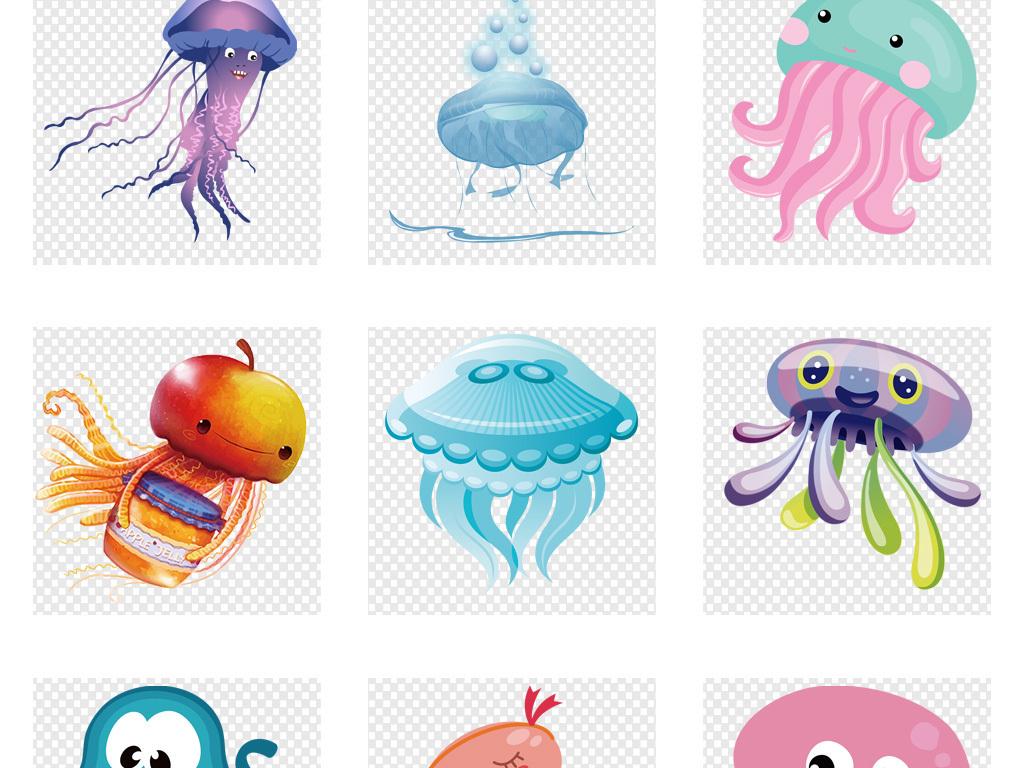 动物园卡通小动物卡通动物素材动物卡通水族馆水母线描