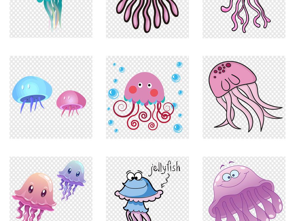免抠元素 自然素材 动物 > 卡通可爱手绘水母海报png素材  素材图片参