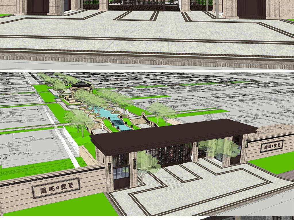 新中式住宅小区别墅庭院入口大门建筑景观小品