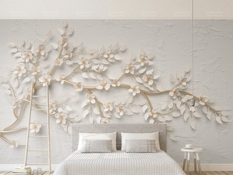 金色树枝白色花朵3d立体浮雕电视背景墙