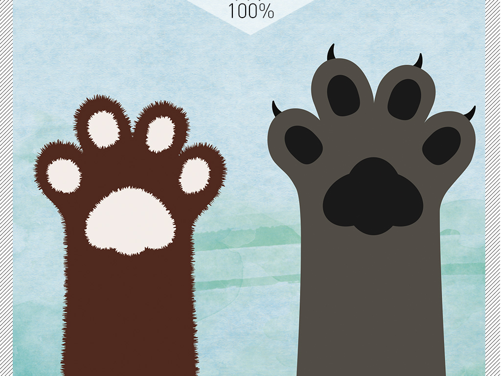 北欧ins风小猫爪子创意个性地垫图片