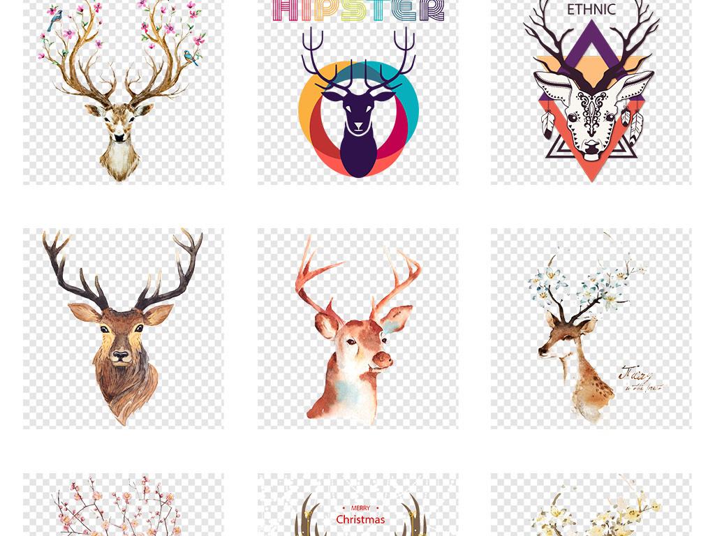 彩绘水彩手绘抽象鹿鹿剪影鹿素材森林卡通小动物水彩鹿头鹿头插画麋鹿
