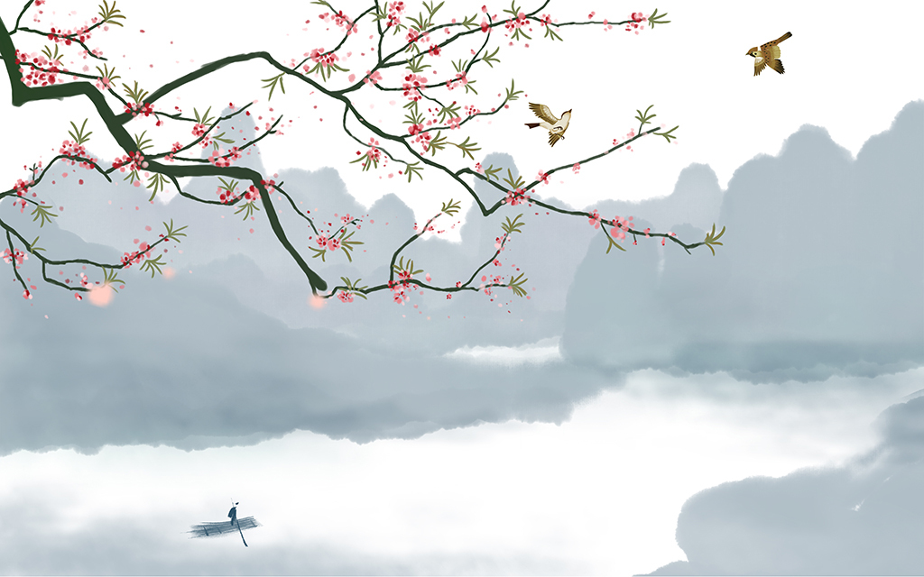 新中式手绘桃花意境花鸟水墨山水电视背景墙