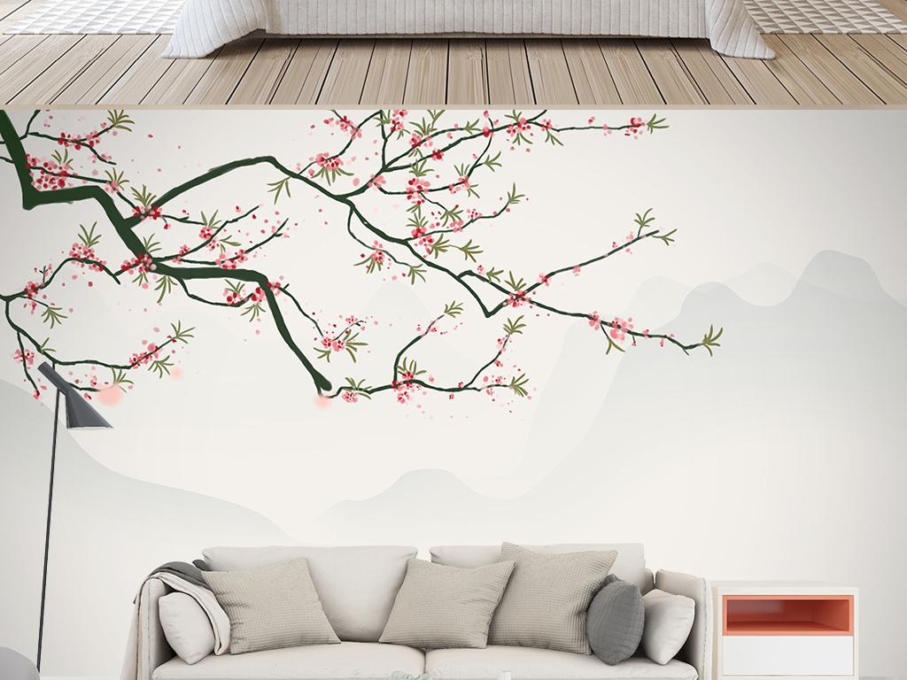 中式手绘花鸟桃花素雅山水意境背景墙装饰画