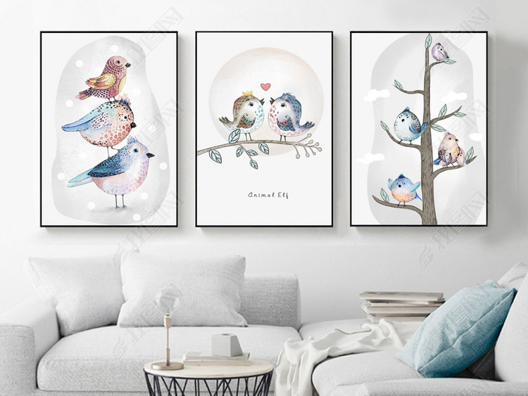 现代简约小清新手绘插画花鸟北欧装饰画
