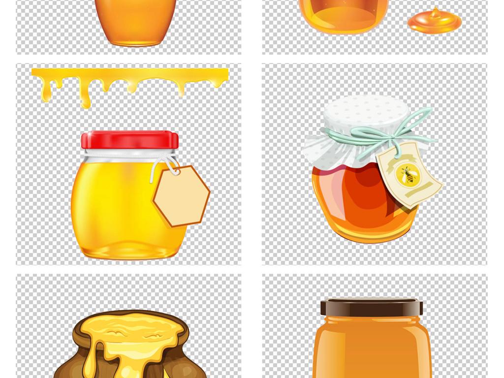 手绘卡通金色蜂蜜蜜罐蜂巢png免扣素材