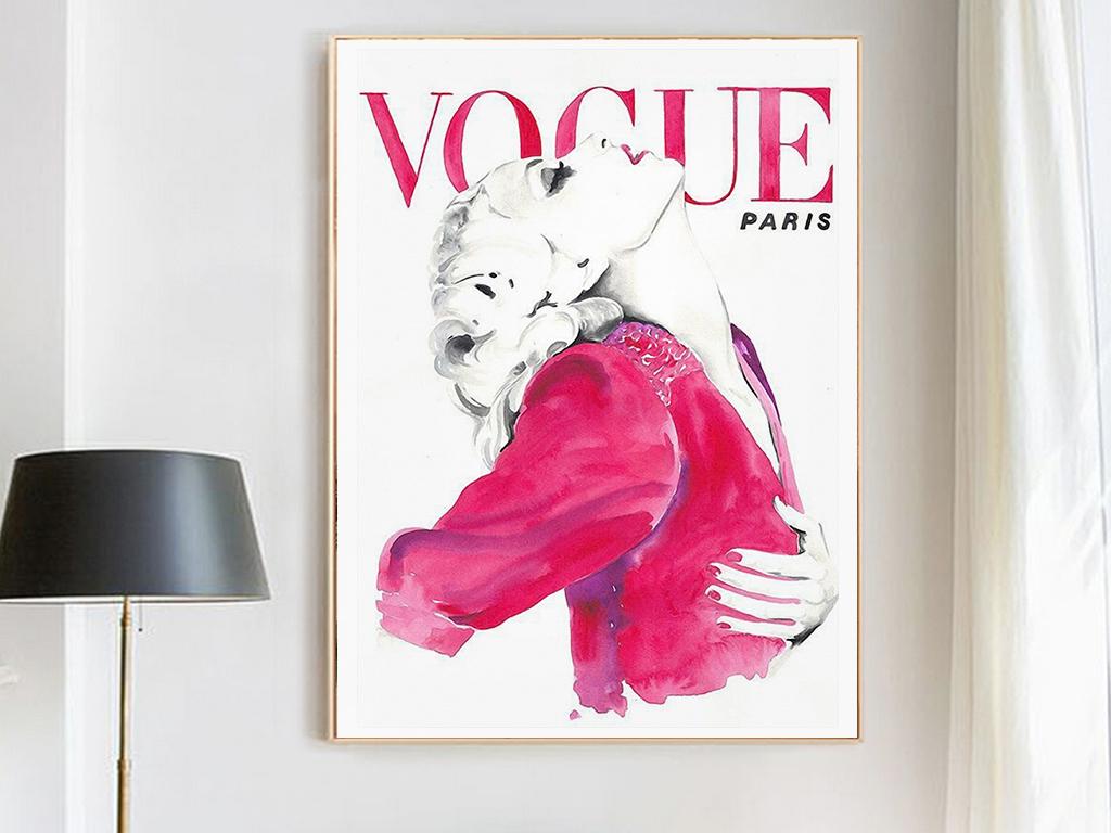 欧美时尚性感现代美女美容口红手绘海报杂志模特装饰画无框画