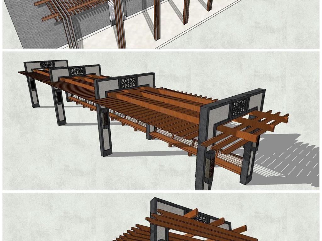 模型库 su模型 其他 > 精品新中式中式风格古典廊架su模型  素材图片