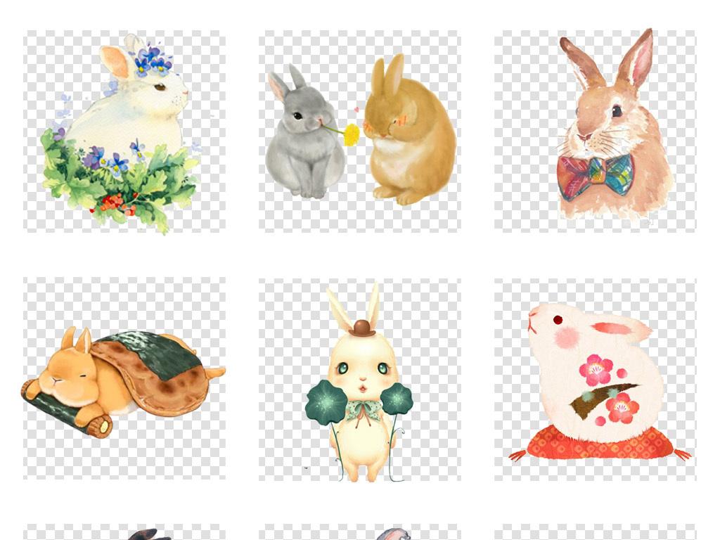 可爱卡通手绘兔子动物海报背景png免扣素材