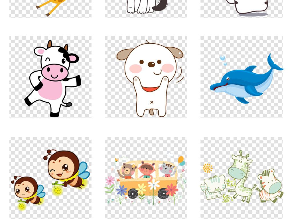 可爱卡通手绘动物集合动物海报背景png免扣素材