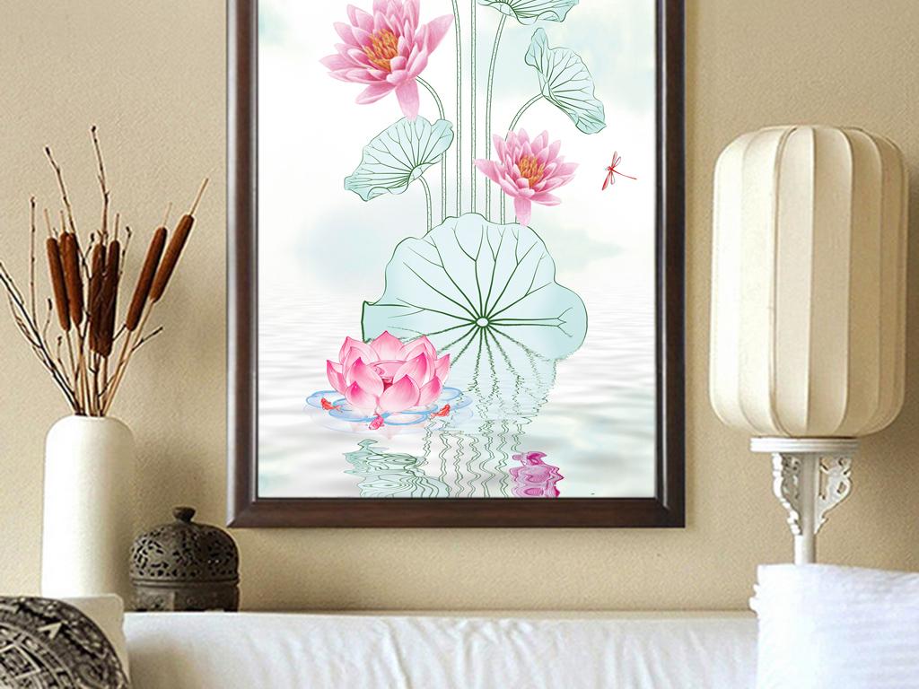 新中式素雅手绘荷花荷花韵玄关背景墙装饰画