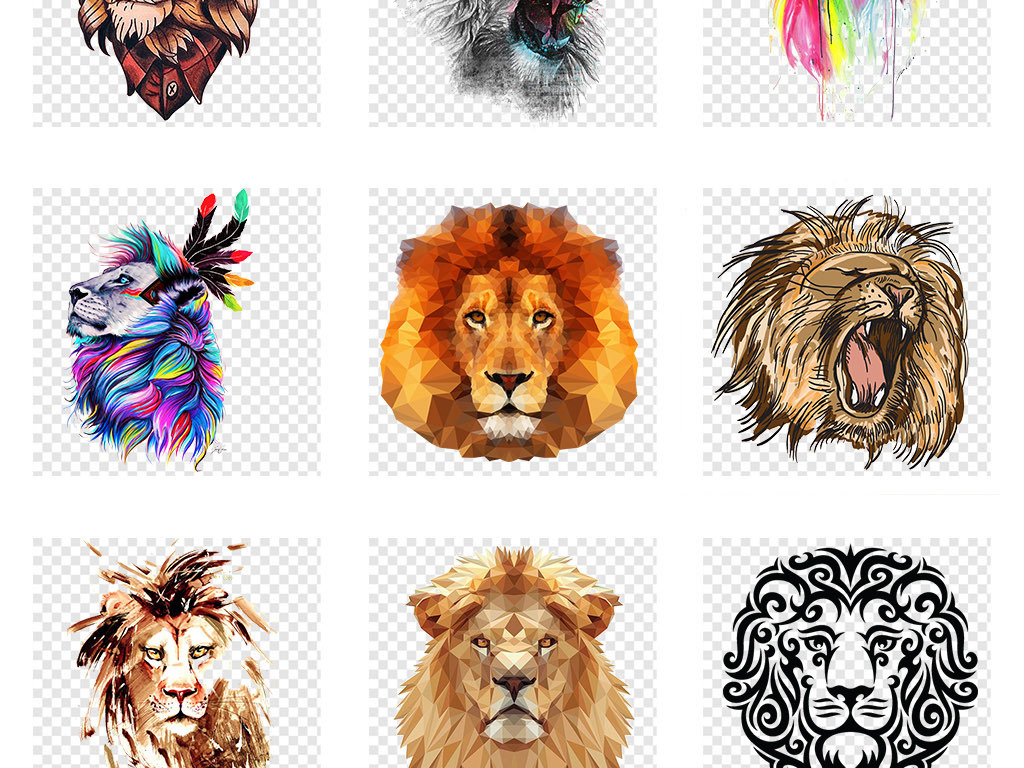 凶猛的狮子创意手绘狮子头png免抠素材