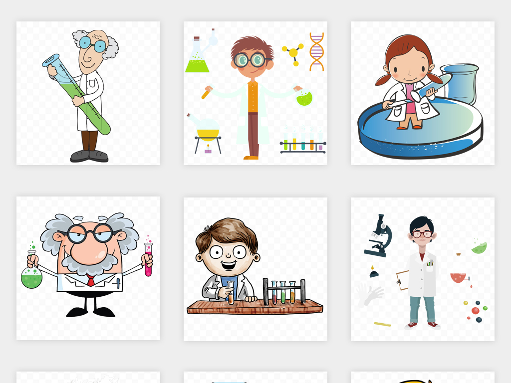 手绘卡通科学家做实验化学实验室海报背景png免扣素材