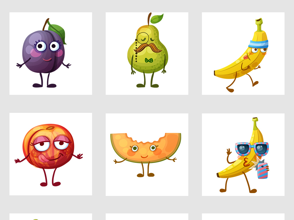手绘水果动漫人物