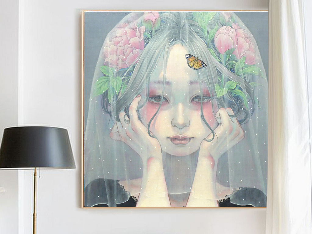 森系空灵小清新文艺唯美手绘海藻抽象创意绘画装饰画