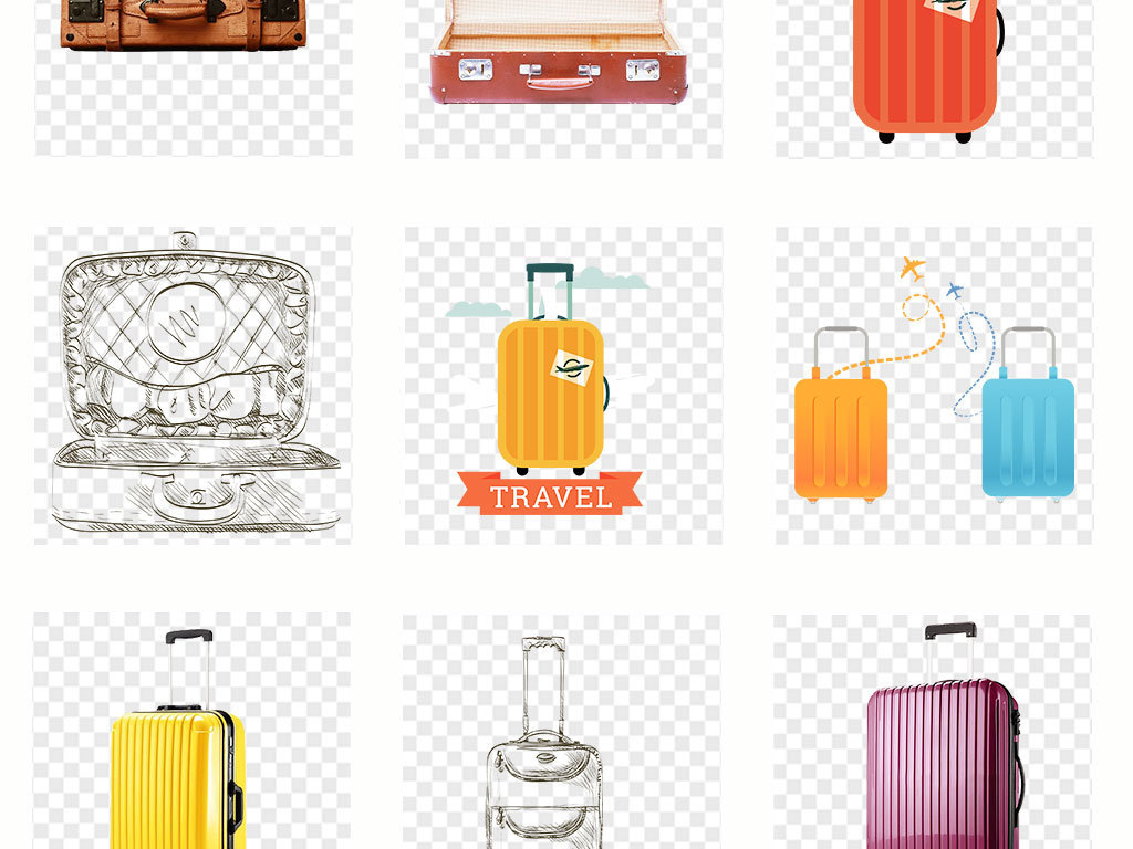 飞机平面设计手绘皮箱旅行包箱子出差旅游矢量素材