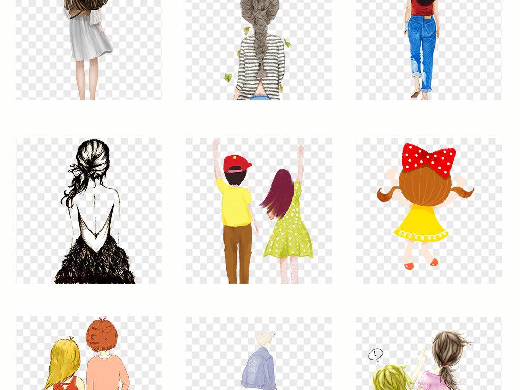 免抠元素 人物形象 美女 > 手绘女孩背影彩绘人物背影插画png素材