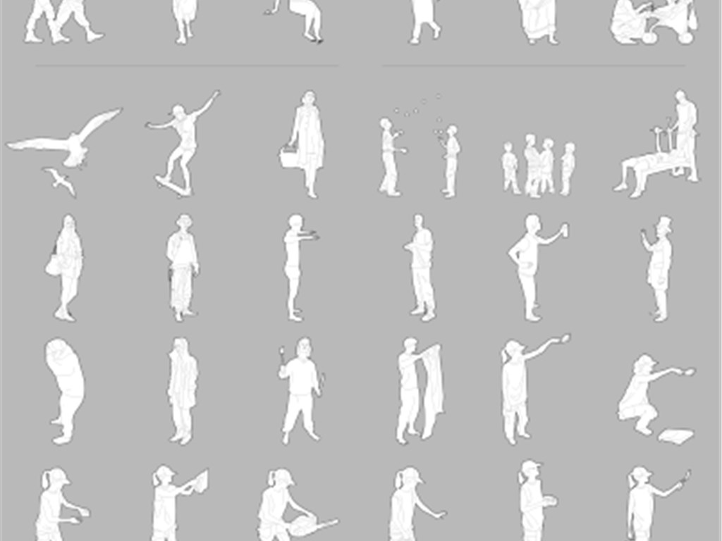 cad图库 其他 其他 > 54个透视cad立面人物和透视人物cad  素材图片参