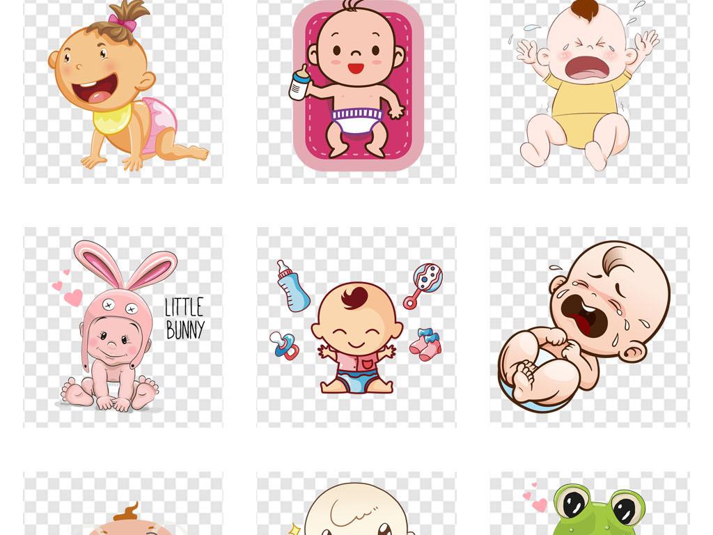 小女孩新生婴儿可爱的孩子卡通卖萌尿不湿儿童
