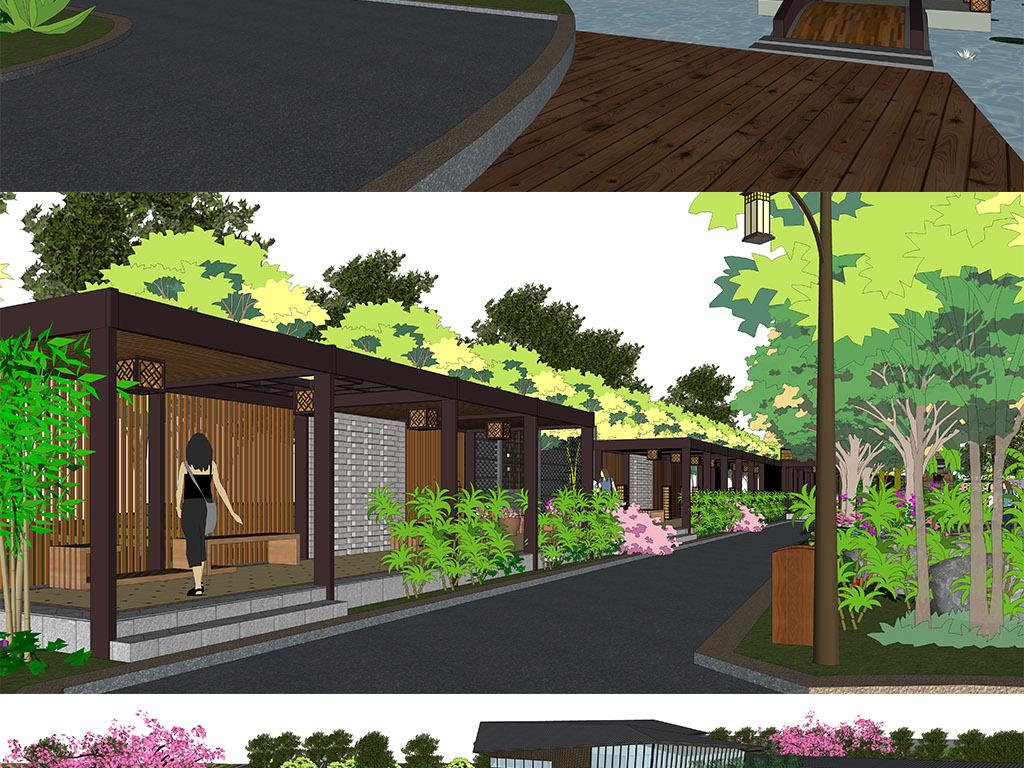 新中式售楼处建筑售楼景观设计su模型