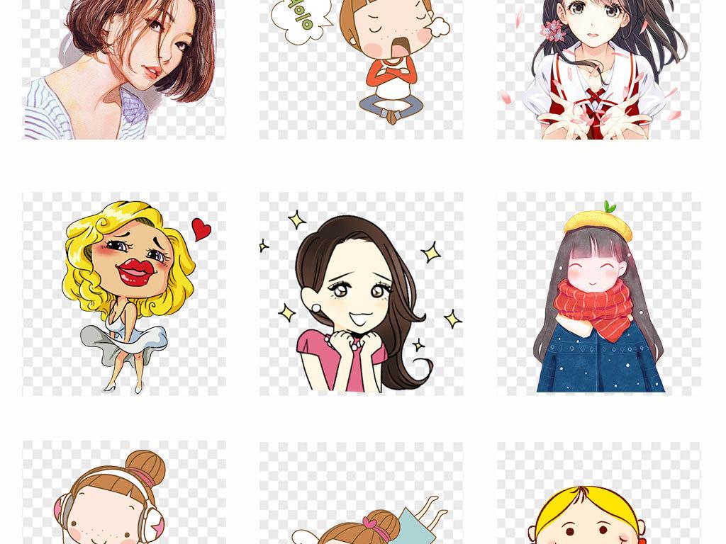 免抠元素 人物形象 动漫人物 > 卡通手绘可爱女孩彩绘人物表情png素材