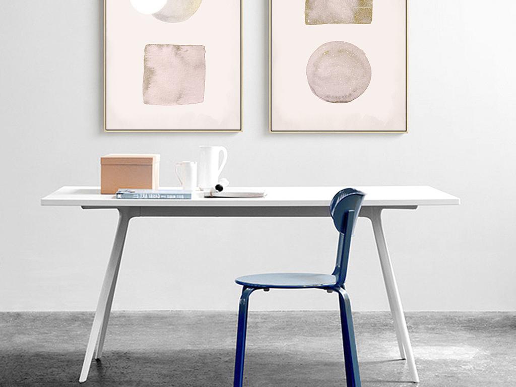 北欧现代艺术手绘抽象水彩三联装饰画