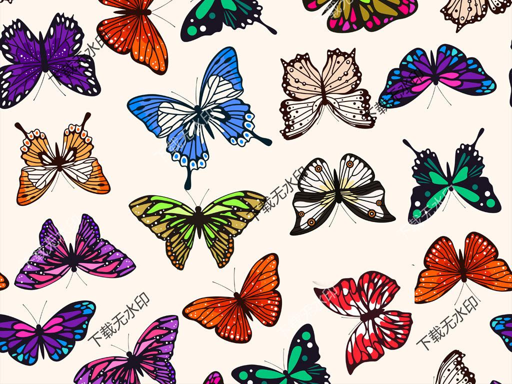 手绘花卉蝴蝶图案数码印花服装面料花型设计图片素材