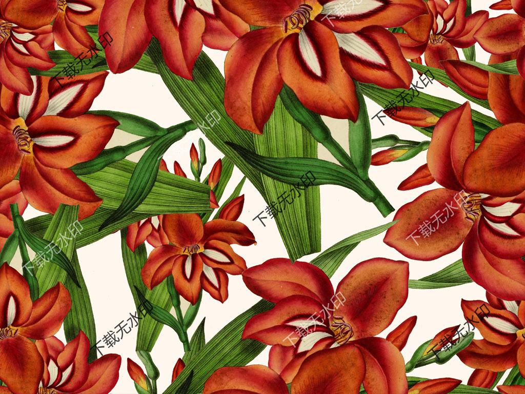手绘花卉图案服装面料花型设计数码印花图案