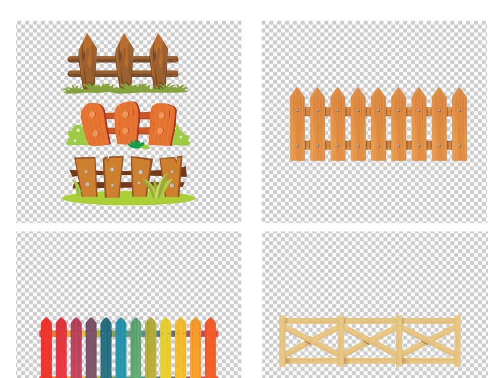 卡通手绘花园栏杆png花园栅栏