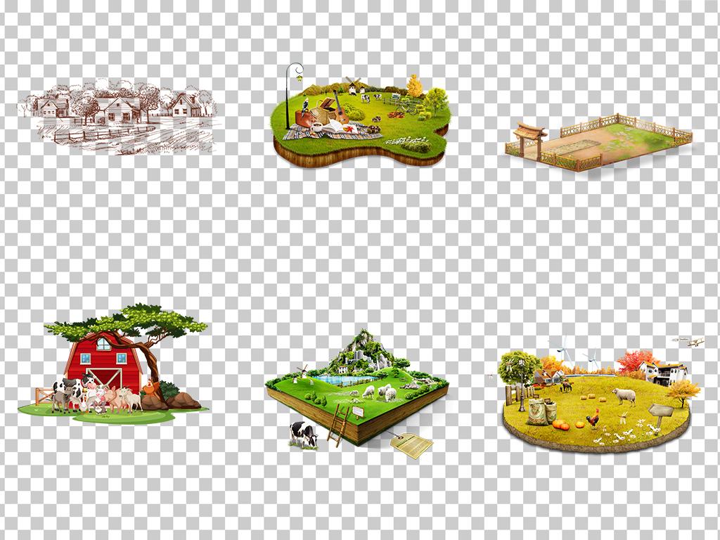 0962农场卡通手绘小农场游戏场景绿色小农场素材免抠