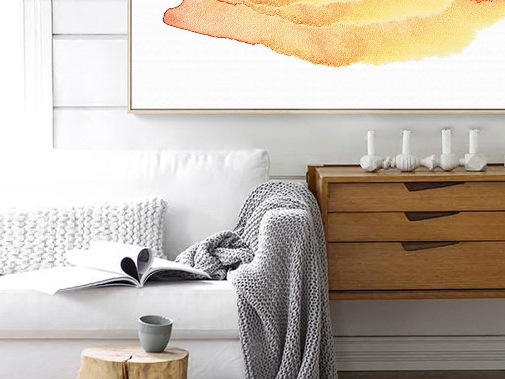 手绘水彩北欧风格现代简约床头装饰画