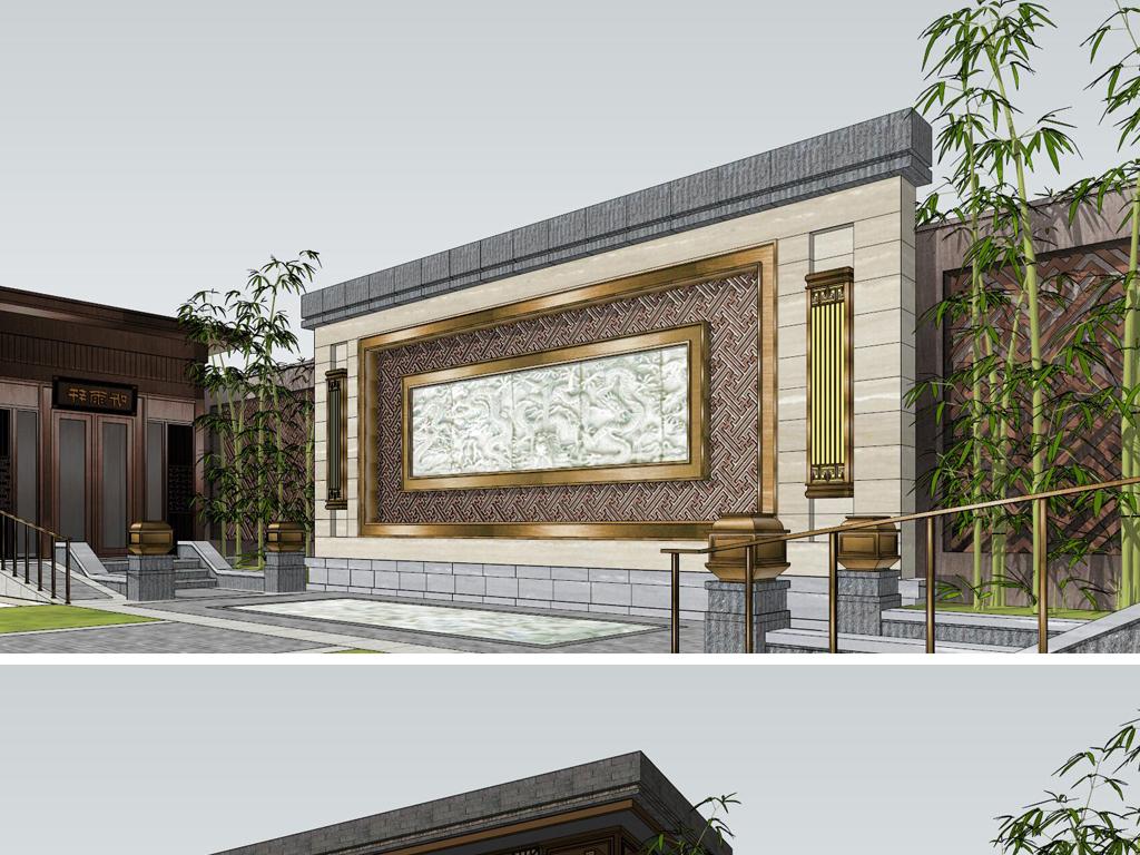 新中式饭店门头效果图