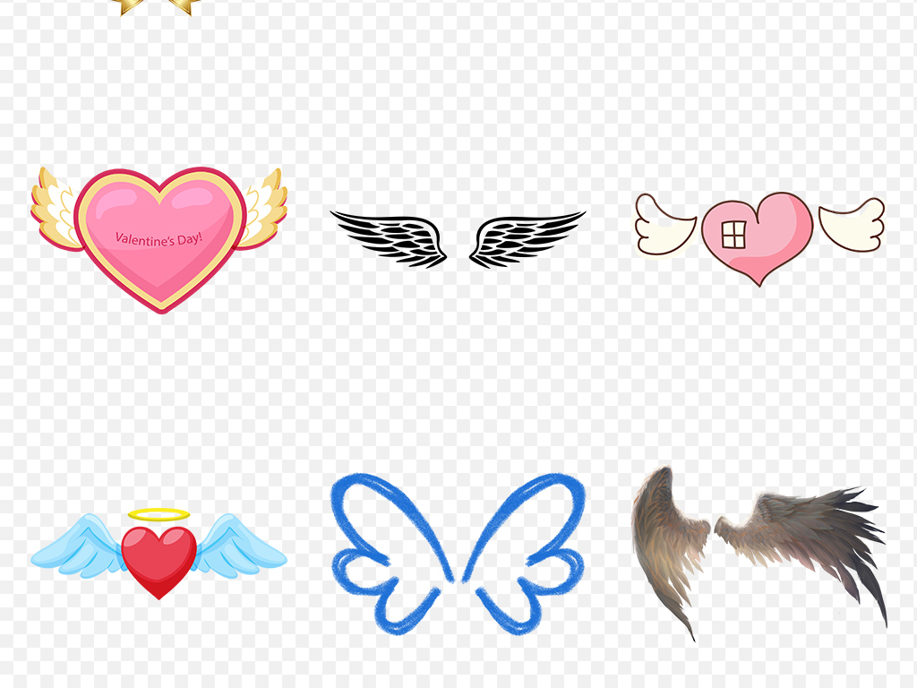 卡通可爱唯美天使翅膀海报素材背景png