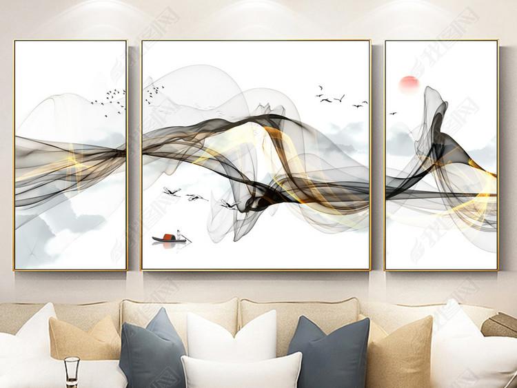 新中式抽象简约水墨线条江南意境三联装饰画
