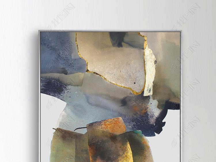 现代北欧艺术水墨抽象玄关装饰画