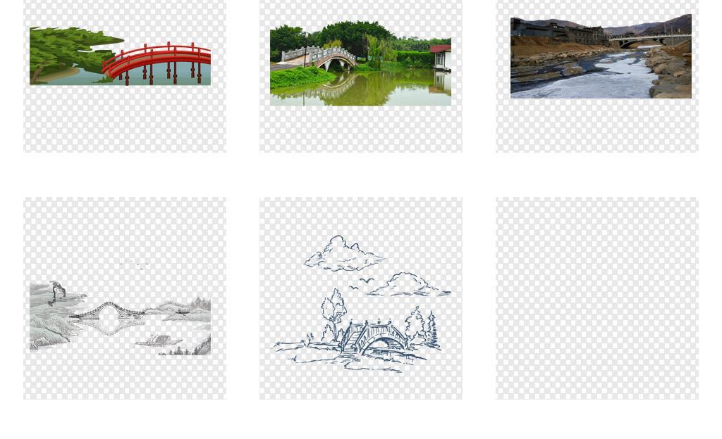 卡通桥水墨桥石头桥伦敦塔桥手绘