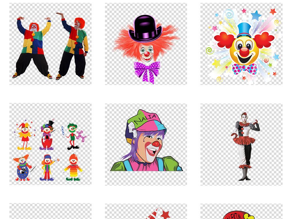 生日素材搞怪小丑手绘小丑卡通儿童生日素材脸谱卡通素材马戏团