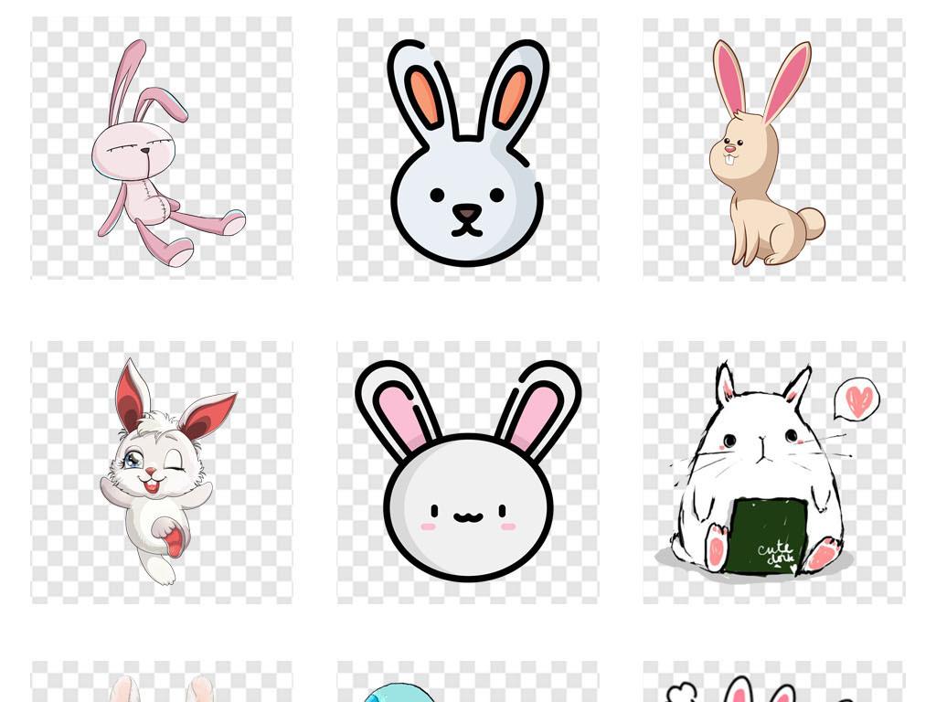 手绘兔子贴纸幼儿园动物海报画册png素材