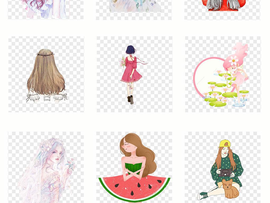 彩绘水彩女孩头像png免扣透明图片