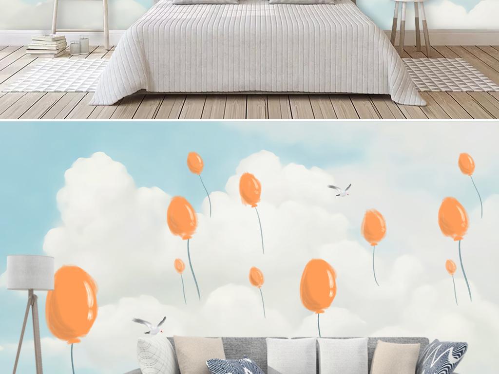 北欧小清新蓝色儿童房手绘卡通背景墙壁画