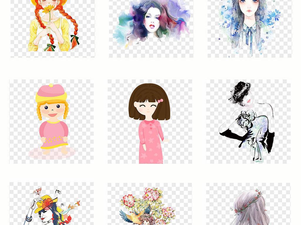 卡通手绘女孩彩绘人物背影文艺png素材