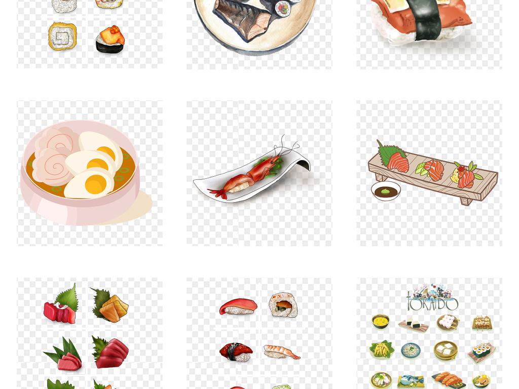 手绘水彩日本寿司日式料理美食海报免扣素材