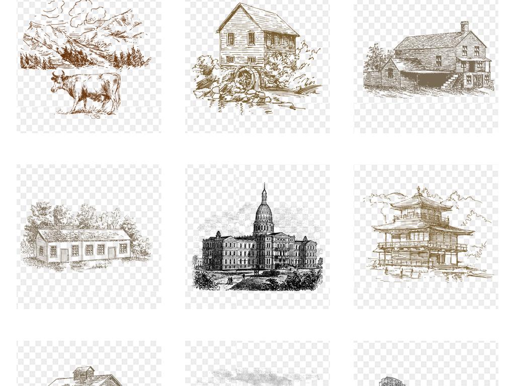 黑白线条图描绘手绘剪影设计素描三维高楼大厦插画城市城市建筑别墅