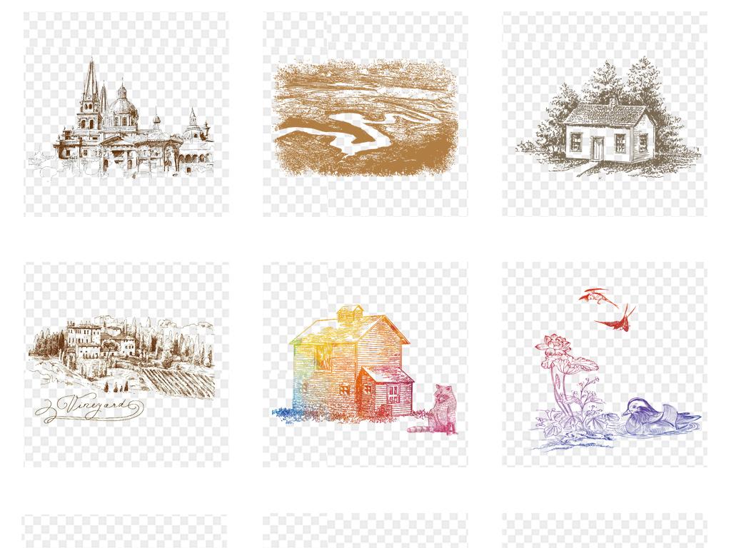 黑白线条图描绘手绘剪影设计素描三维高楼大厦插画城市城市建筑别墅立