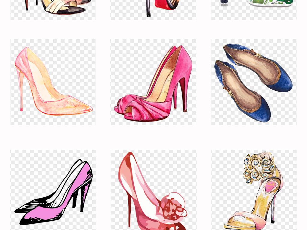 手绘时尚女鞋高跟鞋水彩高跟凉鞋png素材