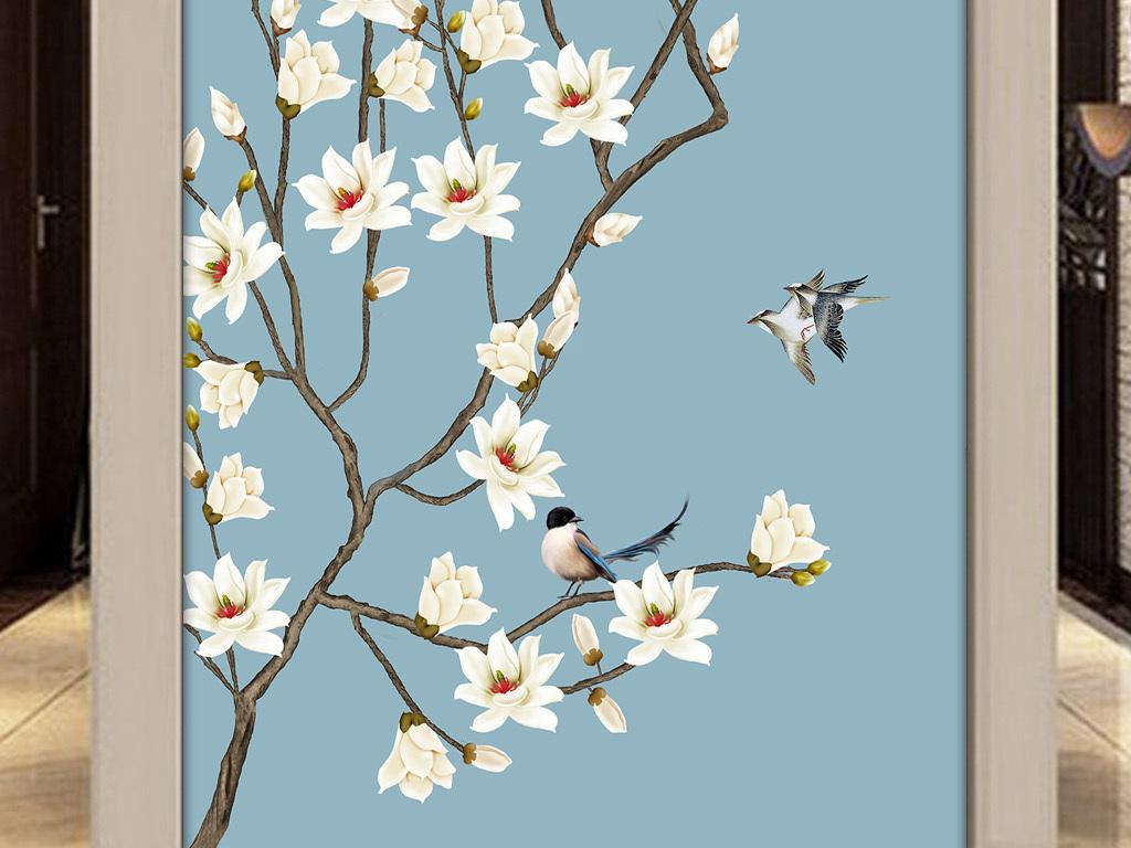 工笔画花鸟玄关背景墙手绘玉兰花壁画
